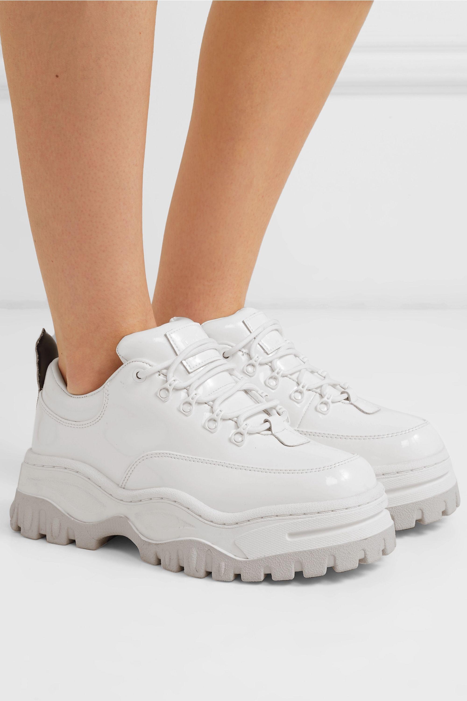 White Angel patent-leather platform