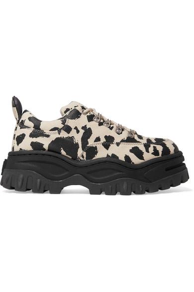 Angel Leopard-Print Cotton-Canvas Platform Sneakers in Leopard Print
