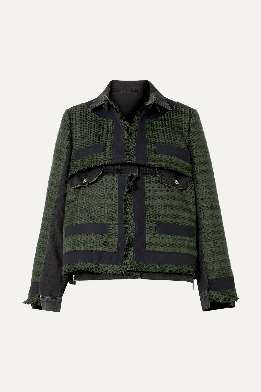 Sacai Paneled canvas-trimmed tweed and denim jacket