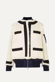 Paneled fringed canvas-trimmed tweed and shell jacket