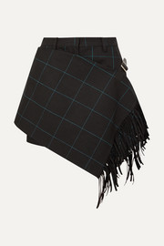Fringed wrap-effect checked cotton shorts