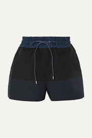 Color-block cotton-blend twill shorts