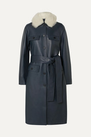 Belted shearling-trimmed leather coat