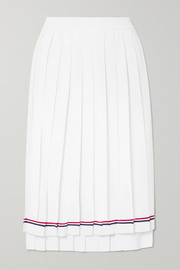 Pleated striped stretch-knit skirt