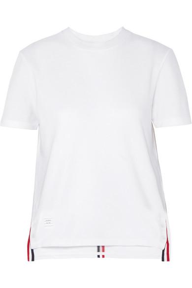 THOM BROWNE | Thom Browne - Appliquéd Cotton-piqué T-shirt - White | Goxip