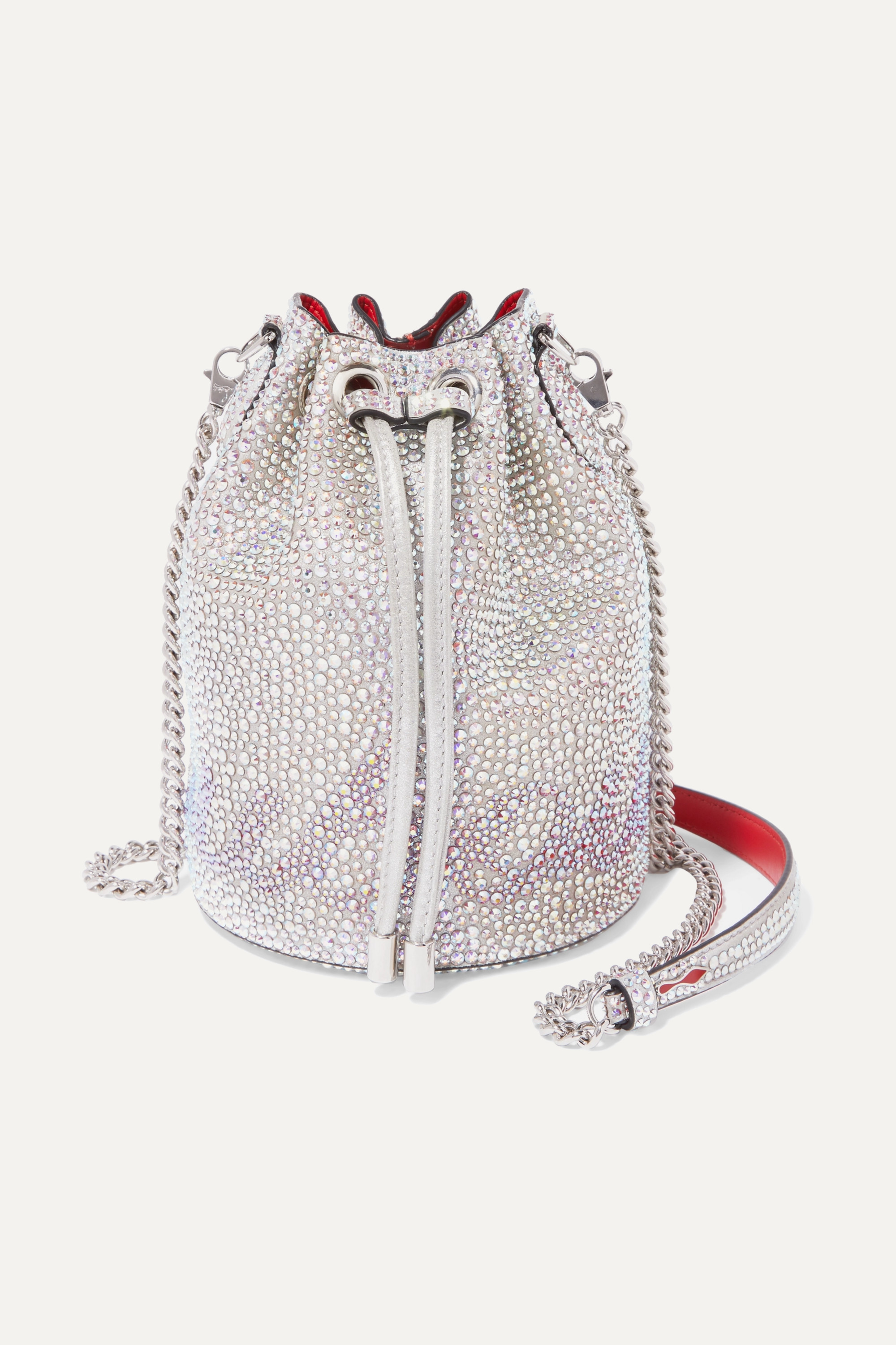 Christian Louboutin Marie Jane crystal-embellished suede and leather bucket bag