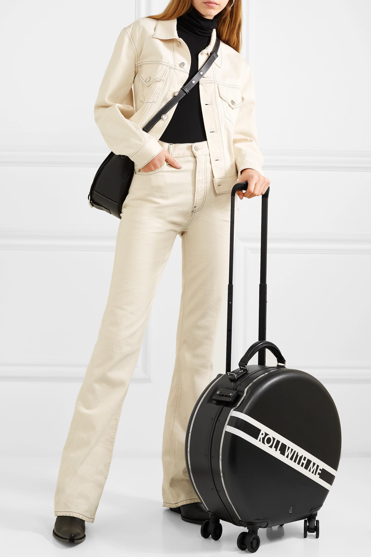 OOKONN Printed leather-trimmed hardshell suitcase