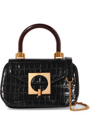 Mulberry Mews mini glossed croc-effect leather shoulder bag