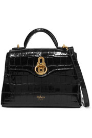 Mulberry Seaton micro glossed croc-effect leather shoulder bag
