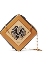 Mulberry Small Square watersnake-trimmed leather shoulder bag