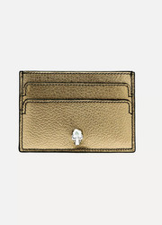 Embellished metallic textured-leather cardholder