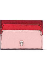 Embellished textured-leather cardholder