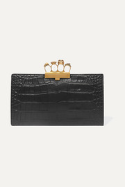 Knuckle embellished croc-effect leather clutch