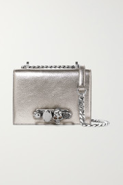 Crystal-embellished textured-leather shoulder bag