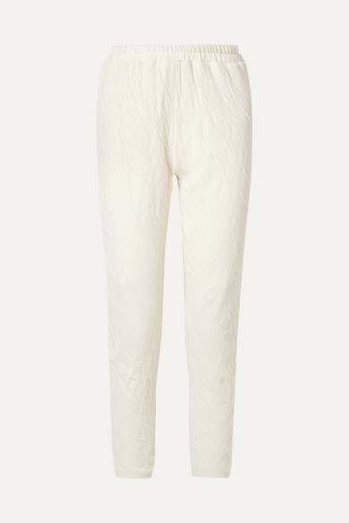 Crinkled Cotton-Jersey Tapered Pants in Cream