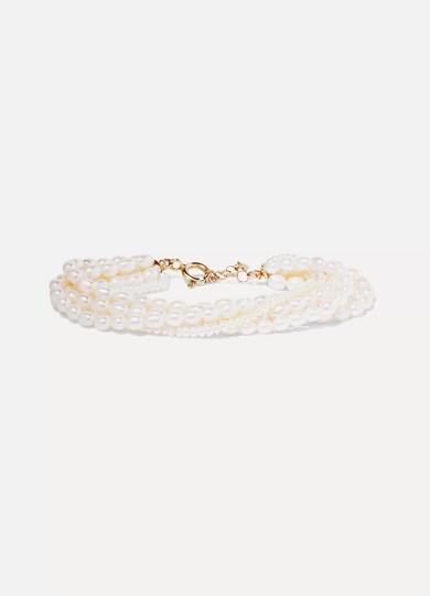 LOREN STEWART 14-Karat Gold Pearl Bracelet in White