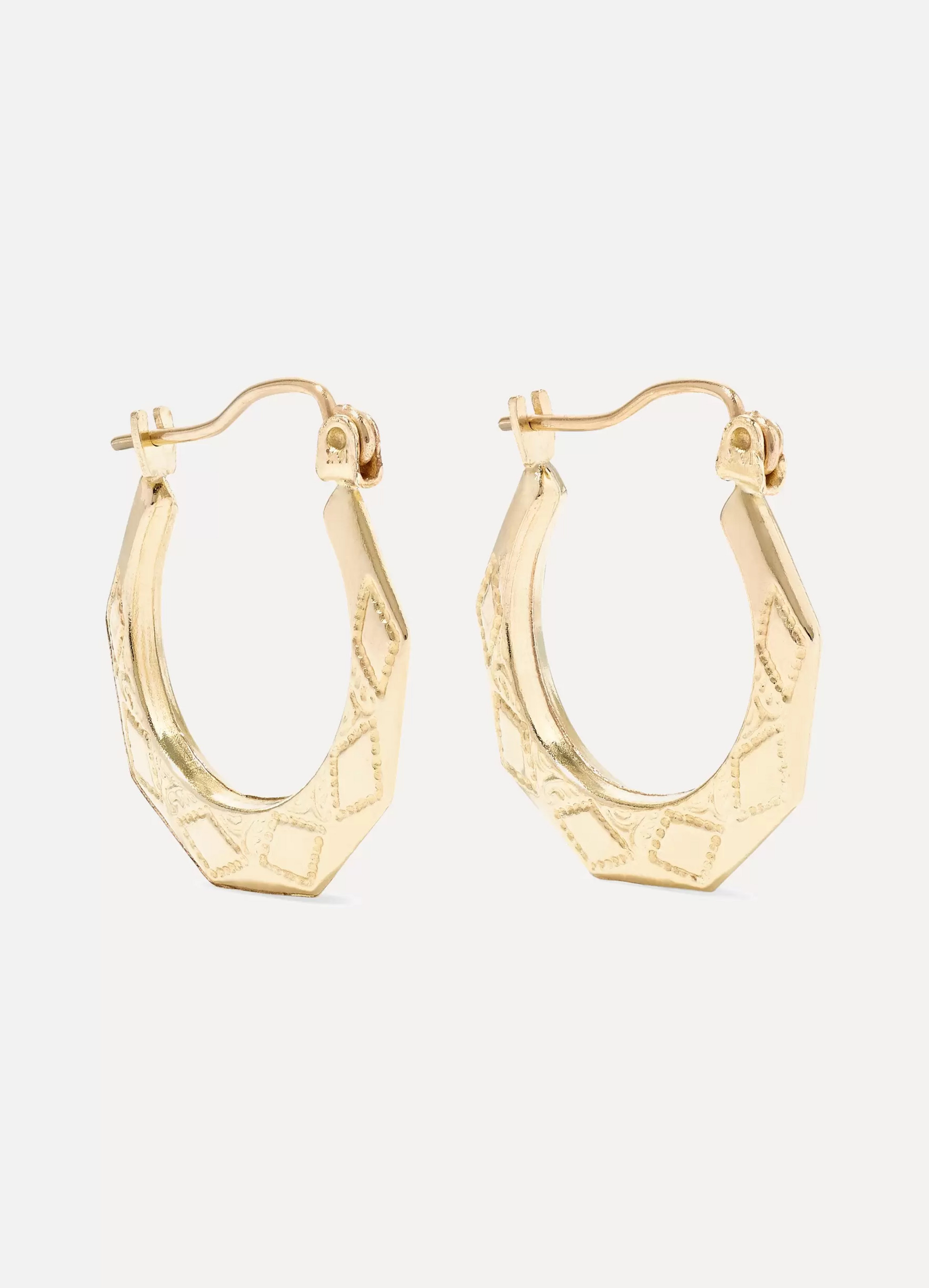 Loren Stewart Party Deco embossed 14-karat gold hoops