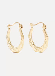 Party Deco embossed 14-karat gold hoops