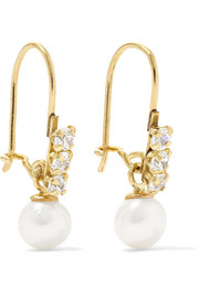 Lucille 14-karat gold, cubic zirconia and pearl earrings