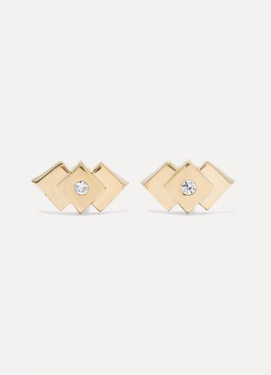 LOREN STEWART Deco 14-Karat Gold Cubic Zirconia Earrings