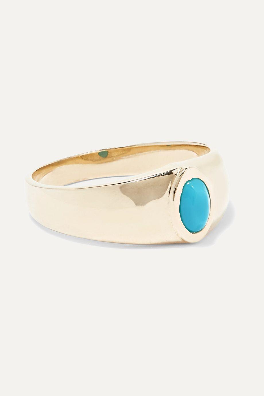 Loren Stewart Gold turquoise signet ring