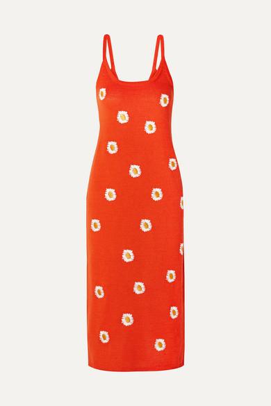 Mansur Gavriel Dresses Embroidered stretch linen-blend dress