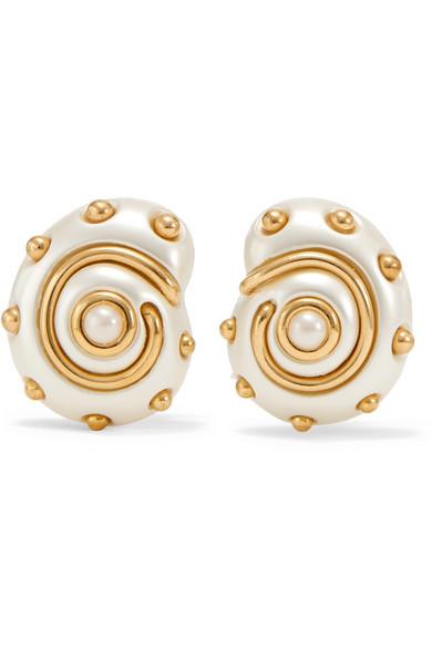 KENNETH JAY LANE Gold-Tone Faux Pearl Clip Earrings in White