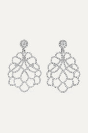 Rhodium-plated crystal clip earrings