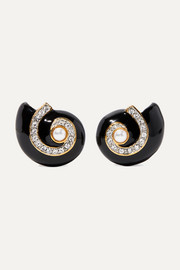 Gold-plated, enamel, crystal and faux pearl clip earrings