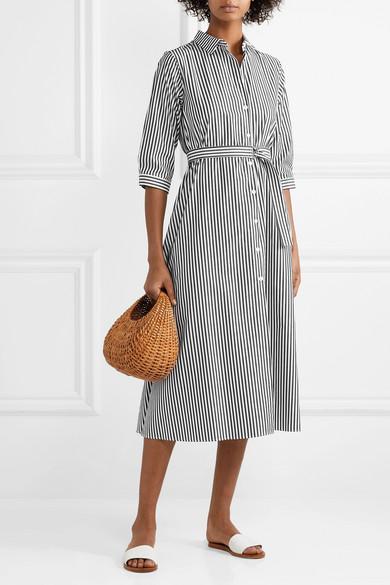 695191833e MDS Stripes. Belted striped cotton-poplin midi dress