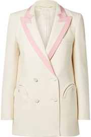 Blazé Milano Everyday double-breasted silk-trimmed wool-crepe blazer