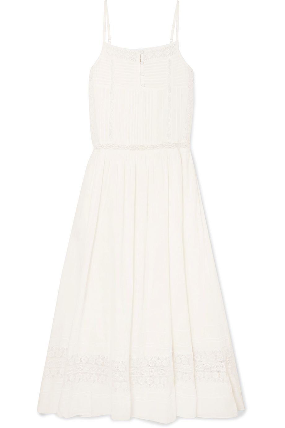 Vanessa Bruno Lali lace-paneled cotton-voile midi dress