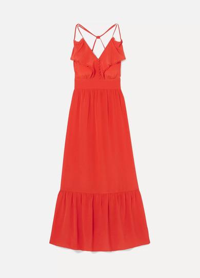 Leda Ruffled Silk-Crepe Maxi Dress in Coral