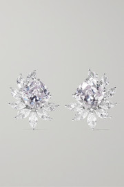 Rhodium-plated cubic zirconia clip earrings