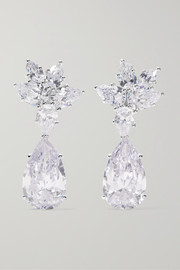 Kenneth Jay Lane Rhodium-plated cubic zirconia clip earrings