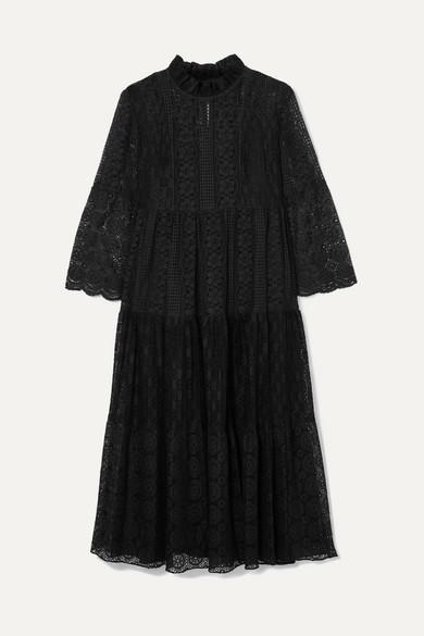 Crocheted Cotton Blend Lace Midi Dress