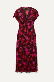 Scattered Flowers lace-trimmed silk-blend jacquard midi dress