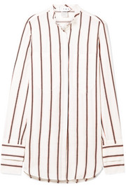 TRE by Natalie Ratabesi The Doppietta striped cotton and linen-blend shirt