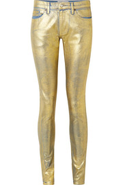 The Gold Edith metallic coated mid-rise skinny jeans