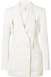 The Linda convertible double-breasted crepe de chine jacket