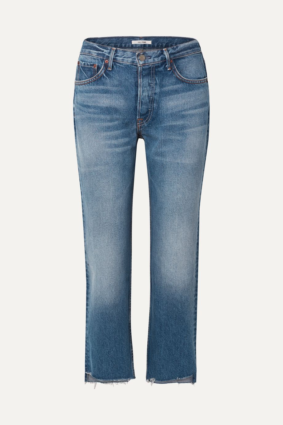 GRLFRND Helena cropped distressed mid-rise straight-leg jeans