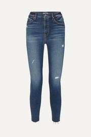 Kendall distressed high-rise skinny jeans