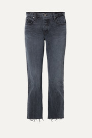Tatum cropped frayed mid-rise straight-leg jeans