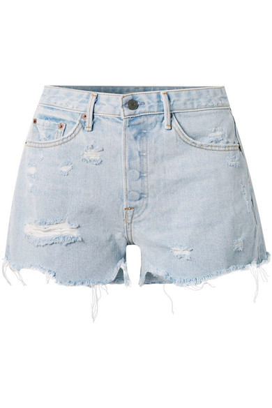 Helena Distressed Denim Shorts in Light Denim