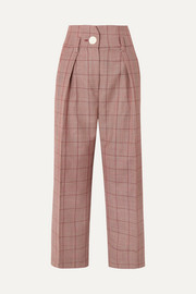 Pleated checked wool and mohair-blend wide-leg pants