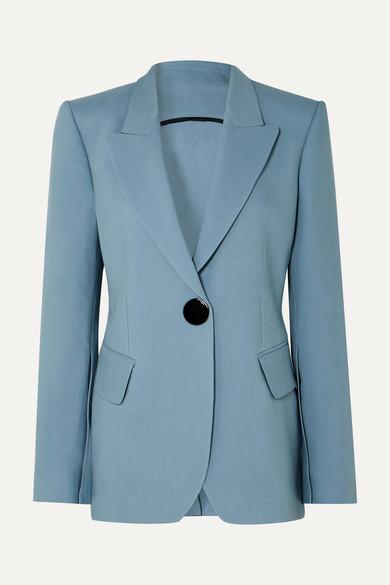 PETAR PETROV Jovan Single-Breasted Wool-Blend Blazer in Blue