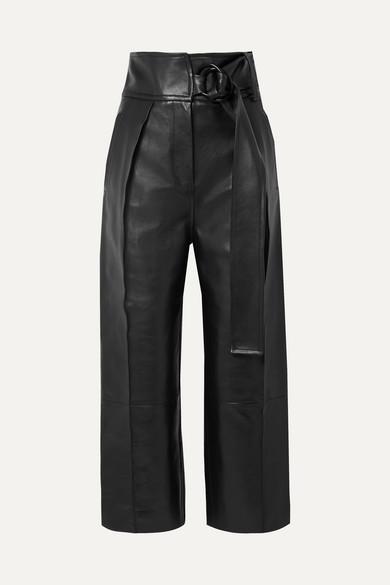 PETAR PETROV   Petar Petrov - Haena Leather Wide-leg Pants - Black   Goxip