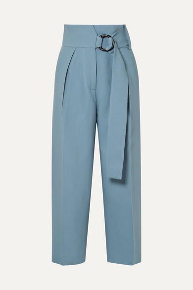 PETAR PETROV | Petar Petrov - Hayes Cropped Belted Wool And Silk-blend Twill Wide-leg Pants - Light blue | Goxip
