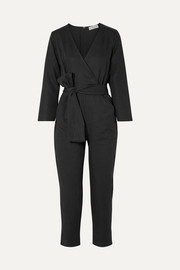 Morena wrap-effect Tencel and linen-blend jumpsuit
