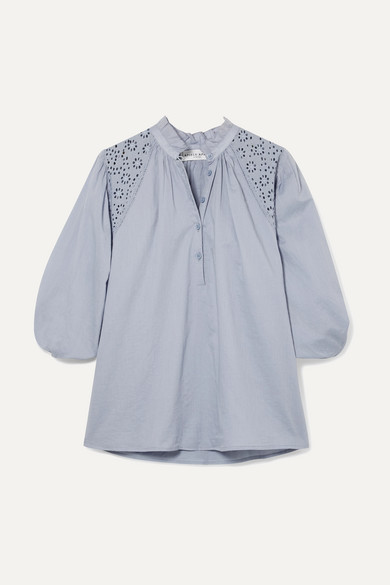 APIECE APART Vera Broderie Anglaise Cotton-Voile Blouse in Blue